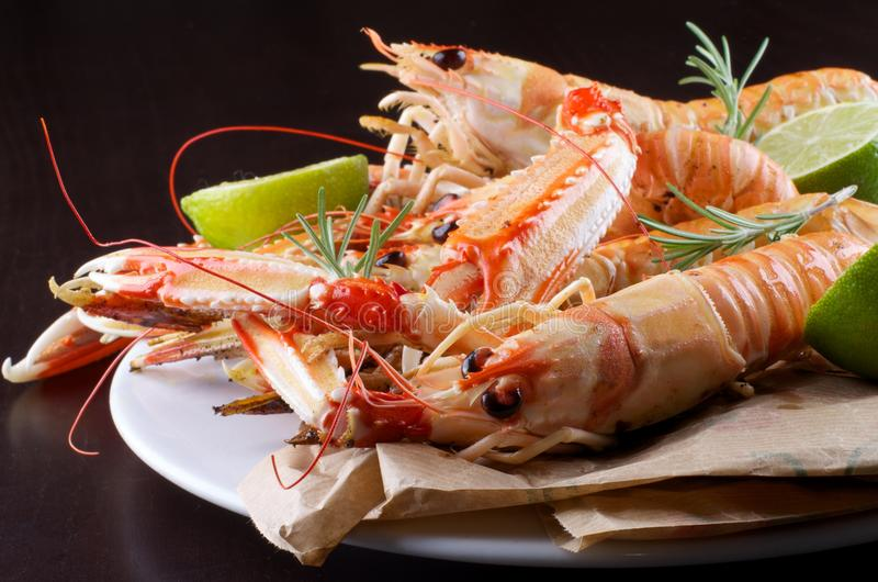 Delicious Grilled Langoustines royalty free stock image