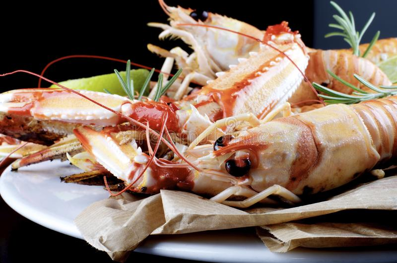 Delicious Grilled Langoustines stock images