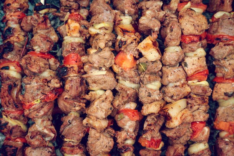 Delicious grilled meat, fried in nature. royalty free stock photo
