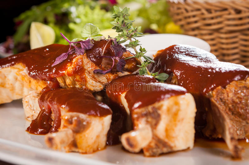 Delicious grilled pork ribs stock photo