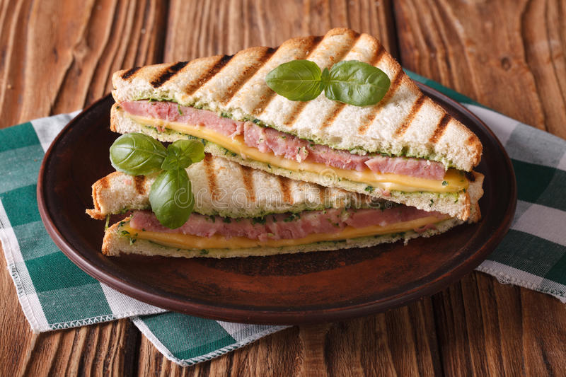Delicious grilled sandwich with ham, cheese and basil royalty free stock photo