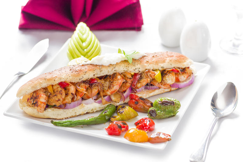 Delicious Grilled Shrimp Sandwich royalty free stock photography