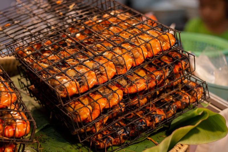 Delicious Grilled Shrimps. In thailand market for sale to customer n stock photography