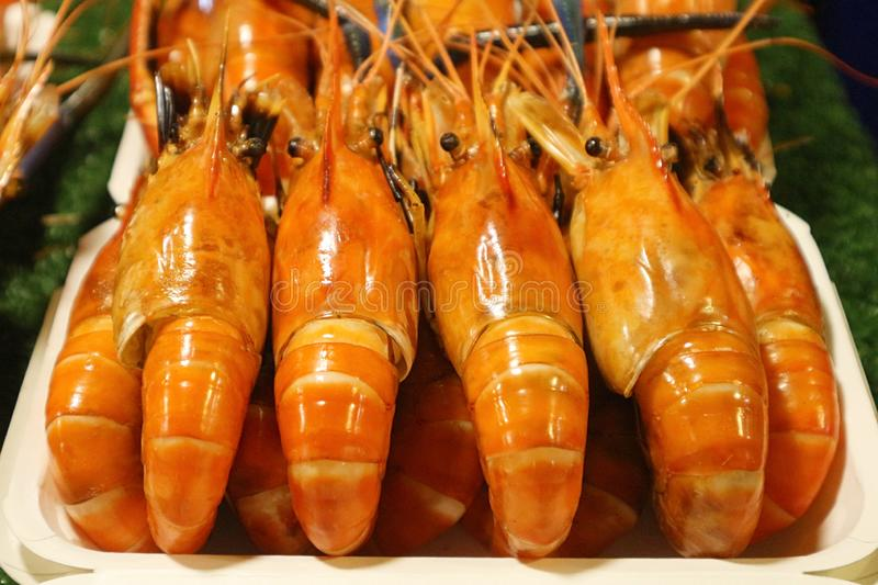Delicious Grilled Shrimps at the Night Market royalty free stock photography