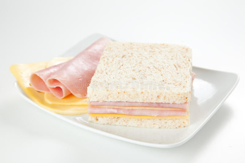 Delicious ham and cheese sandwich royalty free stock photography