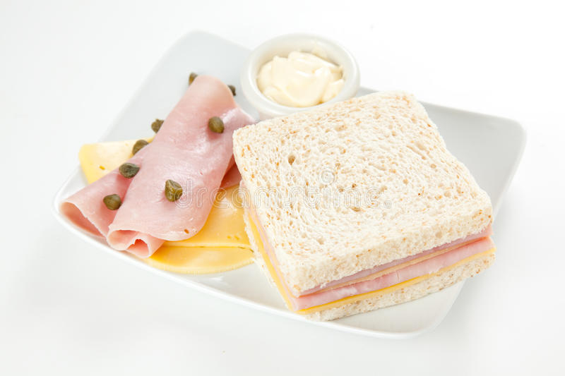 Delicious ham and cheese sandwich stock photos