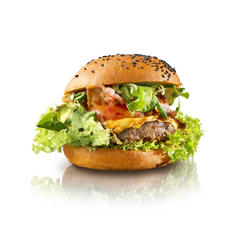 Delicious hamburger isolated white background. For fast food concept stock photo