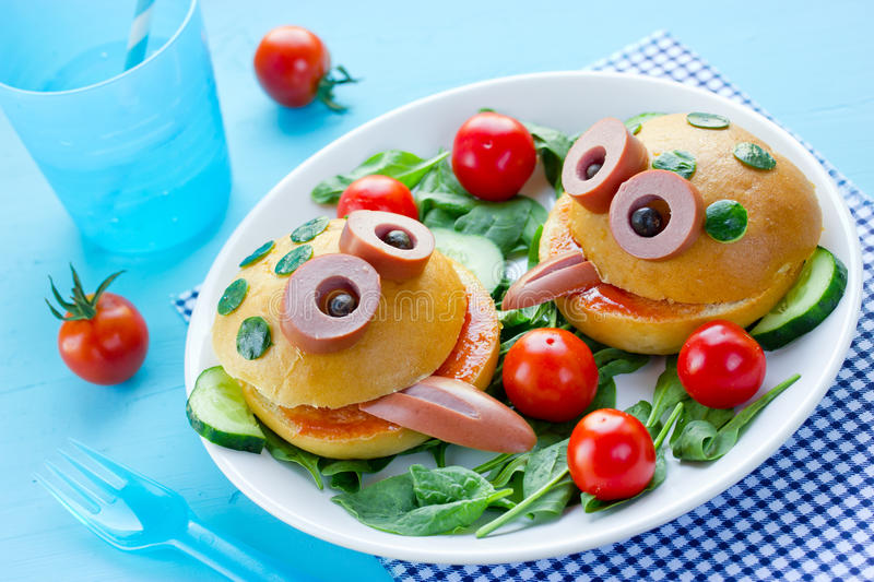 Delicious hamburger like a frog for kids royalty free stock photos
