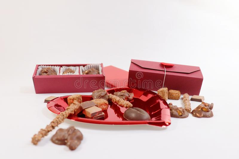 Delicious handmade chocolates are great gifts to conquer who you love. royalty free stock photo