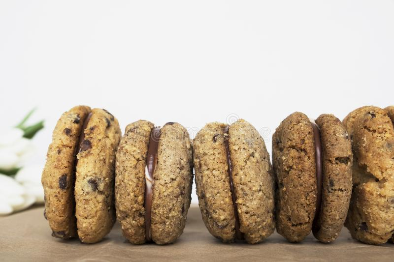Delicious hazelnut and almond sandwich biscuits with chocolate, ganache and gianduja filling. Baci di dama. Tasty hazelnut and almond sandwich biscuits with stock image