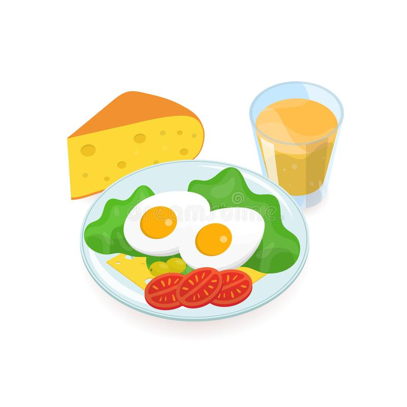 Delicious healthy breakfast consisted of boiled eggs, salad, olives, tomatoes, cheese slices lying on plate and glass of. Orange juice. Tasty and nutritious royalty free illustration
