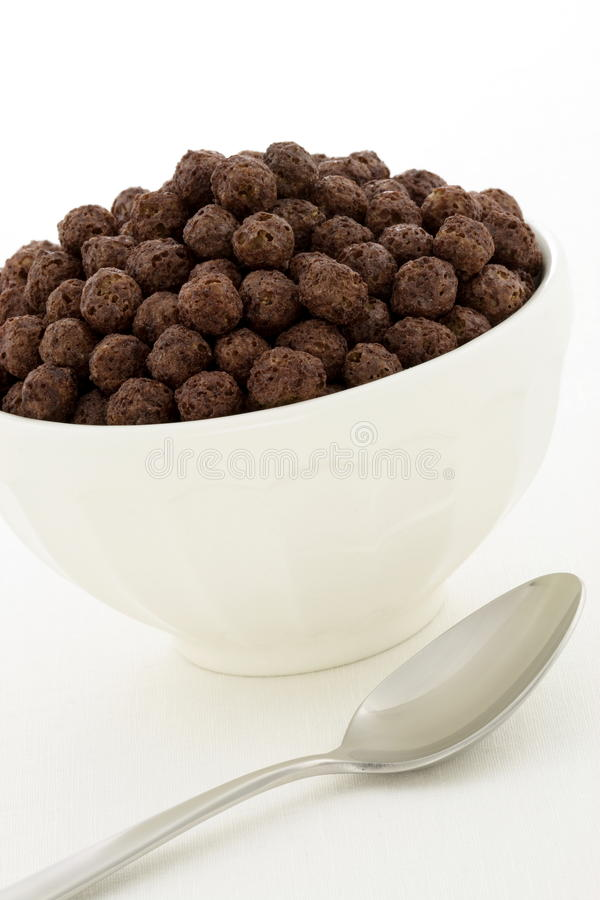 Delicious healthy chocolate kids cereal stock photo