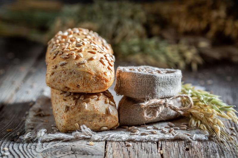 Delicious and healthy ciabatta buns with sunflowers seeds royalty free stock photography