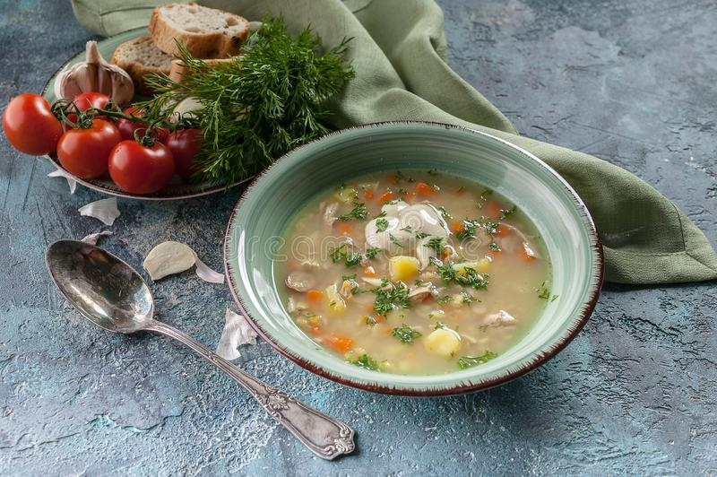 Pea soup with smoked meat, vegetables and greens. Delicious and healthy homemade food. Delicious and healthy homemade food. Pea soup with smoked meat, vegetables royalty free stock photo