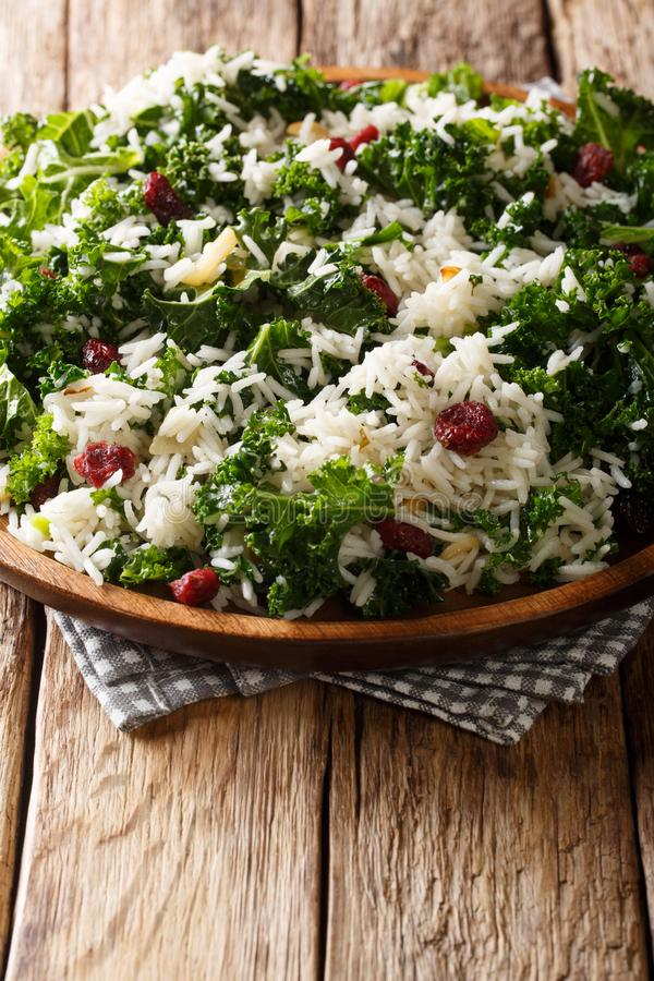Delicious healthy kale cabbage with basmati rice and cranberries close-up on a plate. vertical royalty free stock image