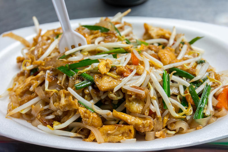 Delicious healthy pad thai royalty free stock photography