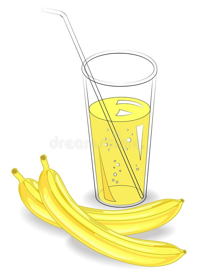 Delicious healthy refreshing drink. In a glass of natural fruit juice, two ripe bananas. Vector illustration royalty free illustration