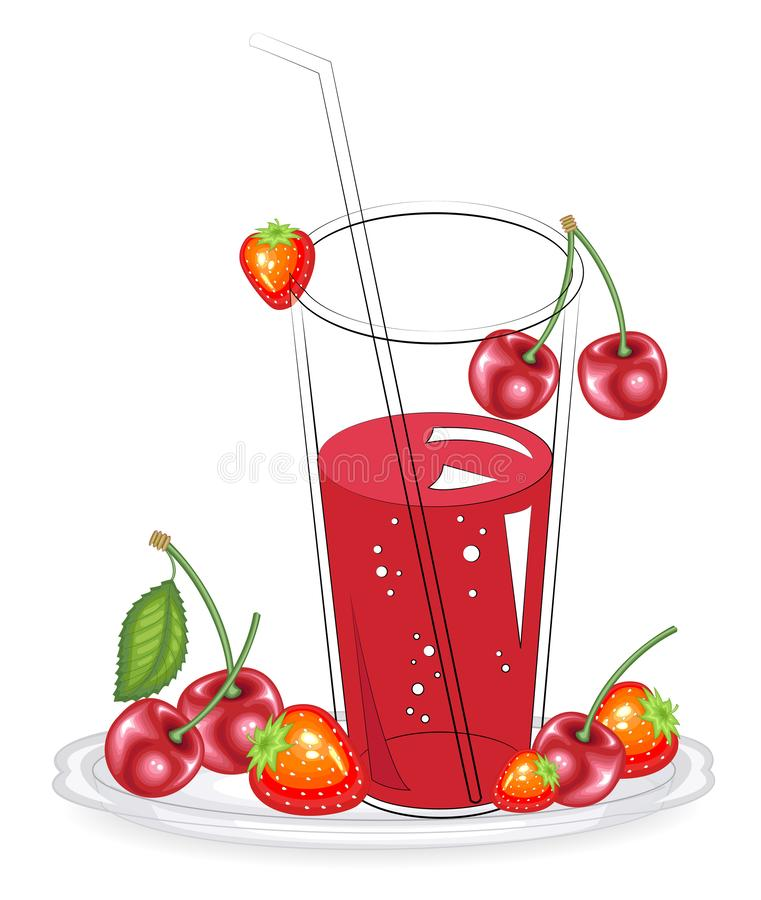 Delicious healthy refreshing fresh drink. Red strawberry and cherry berries on a plate. Vector illustration vector illustration