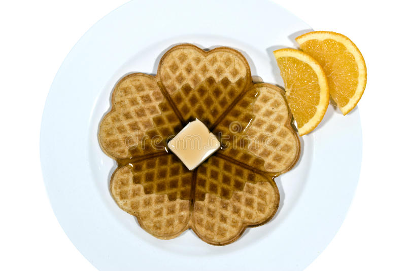 Delicious Heart Shaped Waffles For Breakfast stock photo