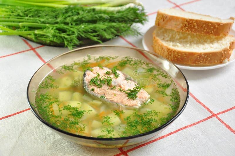 A delicious home fish soup stock photos