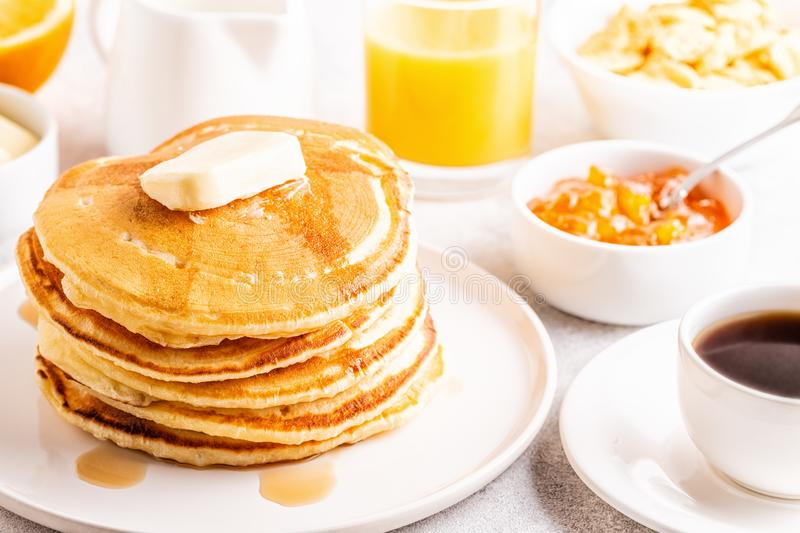 Delicious homemade breakfast with pancakes royalty free stock photos