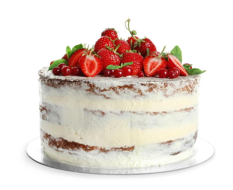 Delicious homemade cake with fresh berries. On white background royalty free stock photos