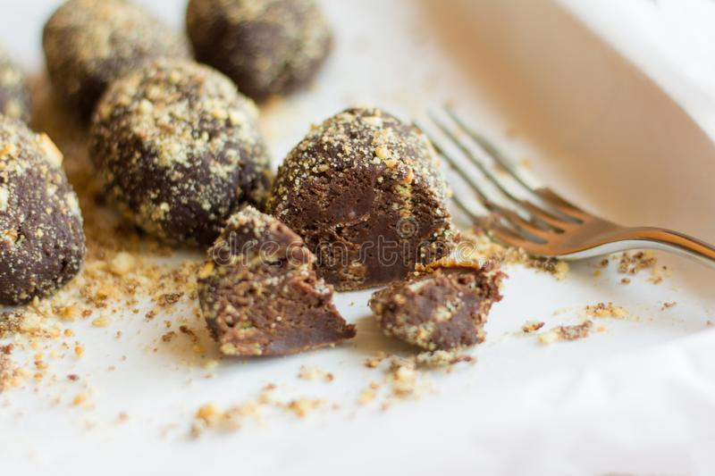 Delicious homemade cakes `potato` covered with crumbs.  stock photography