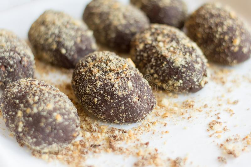 Delicious homemade cakes `potato` covered with crumbs.  stock image