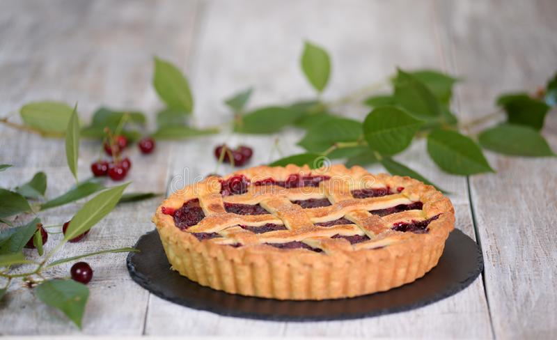 Delicious Homemade Cherry Pie with a Flaky Crust. royalty free stock image
