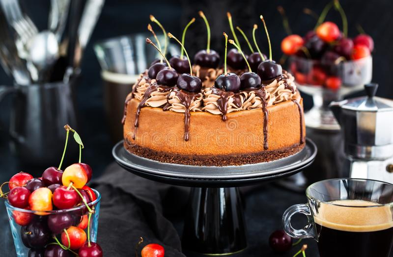 Download Delicious Homemade Chocolate Cheesecake Decorated With Fresh Che Stock Image - Image of coffee, delicious: 120389769