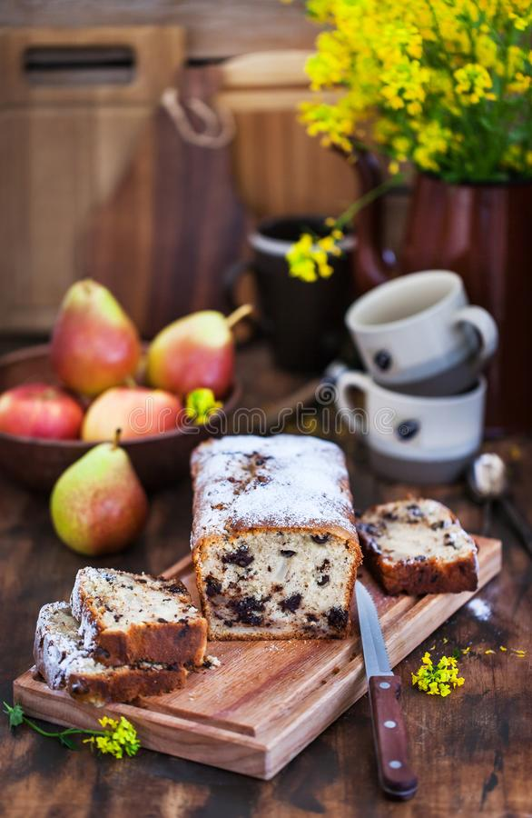 Delicious homemade chocolate and pears loaf cake royalty free stock photos