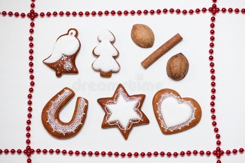 Delicious homemade Christmas gingerbread cookies on white background royalty free stock photography