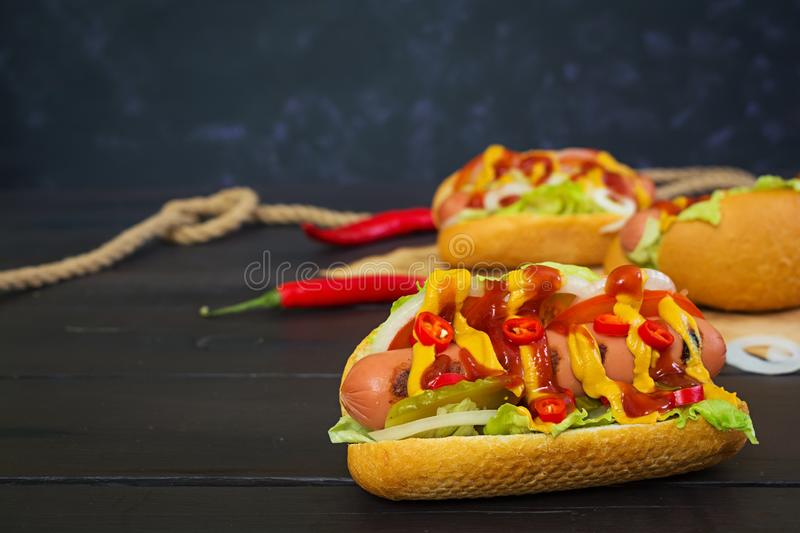 Delicious homemade hot dog on dark background.  royalty free stock photography