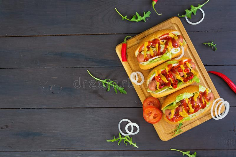 Delicious homemade hot dog on dark background.  stock photo