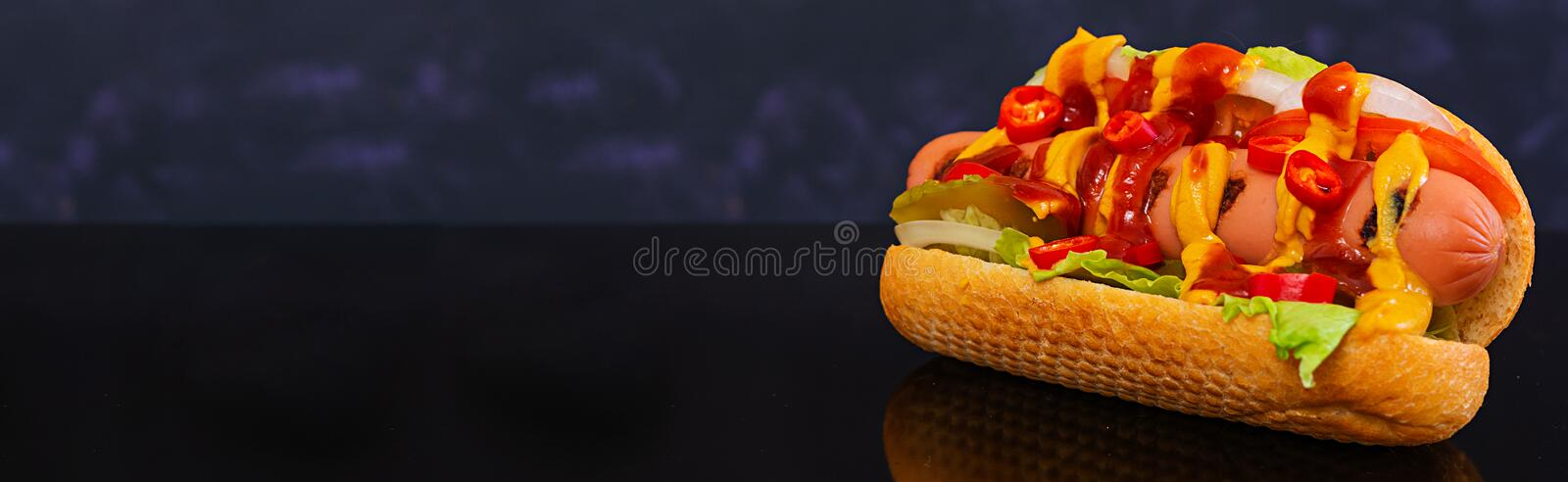 Delicious homemade hot dog on dark background. Banner.  royalty free stock images
