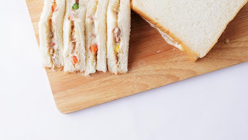 Delicious homemade sandwich tuna on wooden place royalty free stock photography