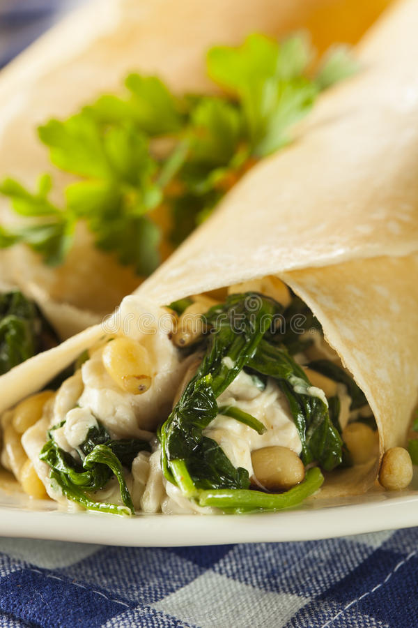 Delicious Homemade Spinach and Feta Savory French Crepes. Delicious Homemade Savory French Crepes with Spinach and Feta stock photos