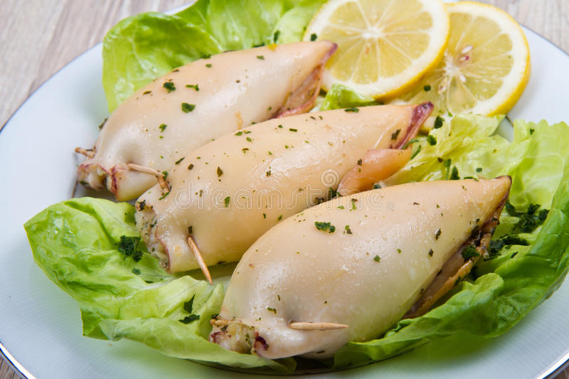 Delicious homemade stuffed squid stock photo