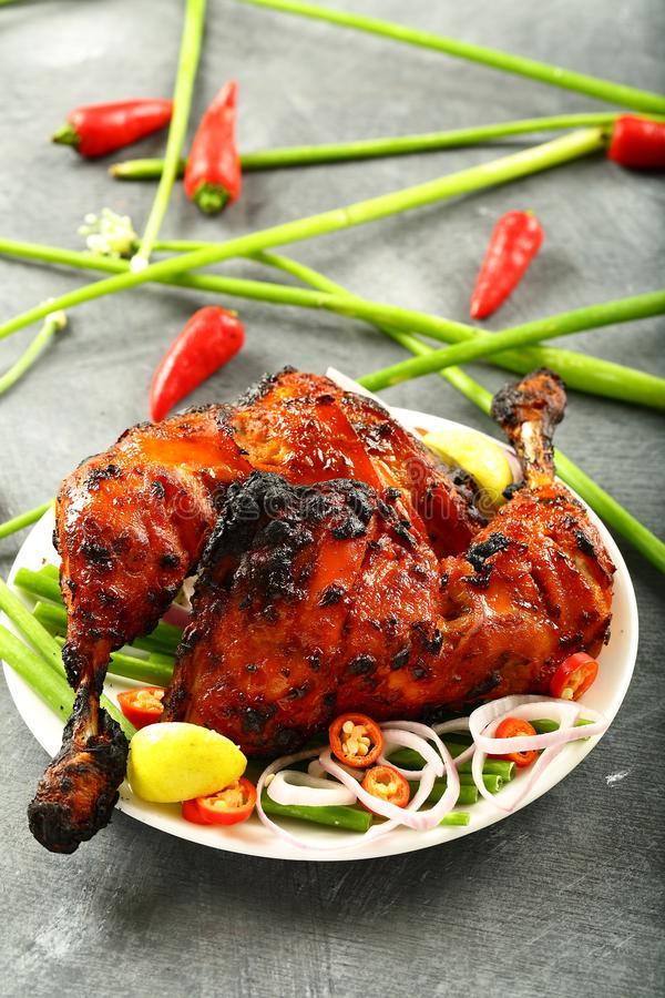Delicious tandooti chicken with salads. Delicious homemade tandoori chicken with salads on a dark background. famous Indian recipe royalty free stock image