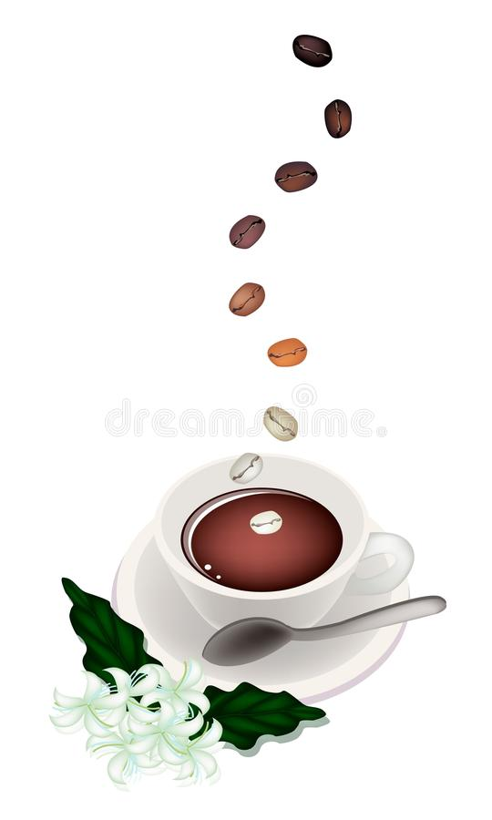 A Delicious Hot Coffee With Beans And Flower Stock Images