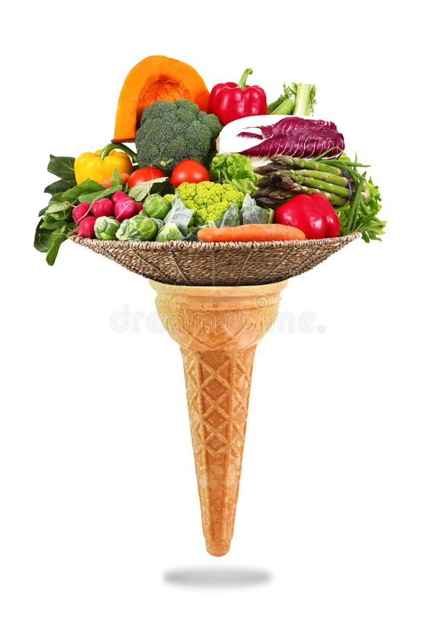Delicious ice cream cone with vegetables taste royalty free stock images