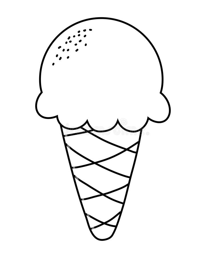 Delicious ice cream with one scoop cartoon in black and white vector illustration
