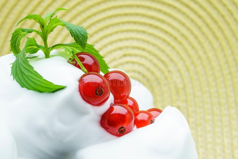Delicious ice-cream with red currant. Ripe red currant and vanilla ice cream for a healthy refreshing cold summer dessert stock photography