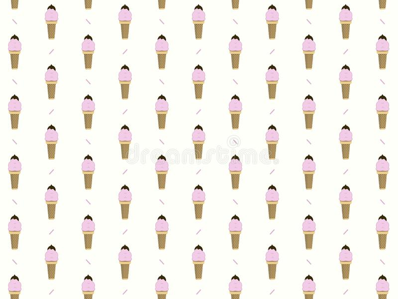 Pattern pink ice cream in a waffle cone  illustration vector illustration