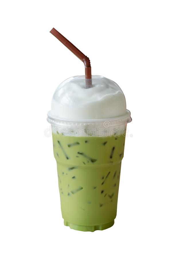 Ice matcha green tea latte in take away cup with milk foam and brown straw isolated on white background. Delicious Ice matcha green tea latte in take away cup stock photography