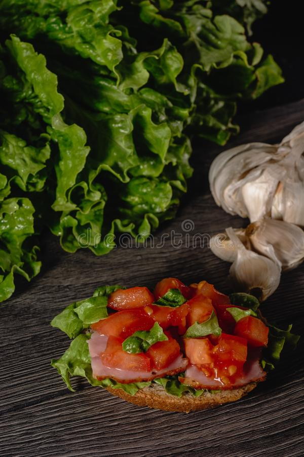 Delicious Italian antipasti bruschetta with chopped tomato, meat pate, sauce, cream cheese and salad leaves. Set of tasty stock photography