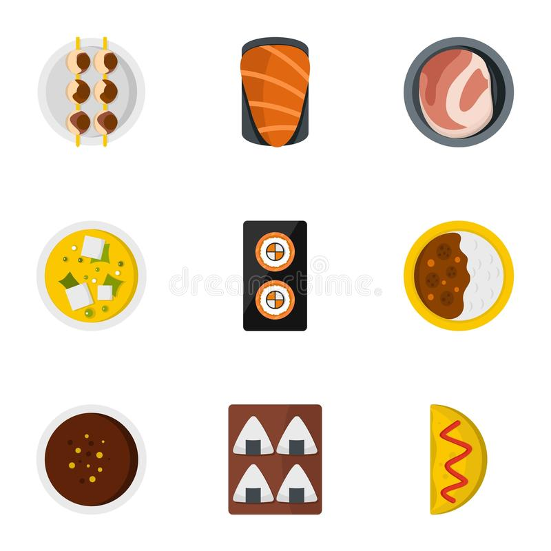 Delicious japanese food icons set, flat style. Delicious japanese food icons set. Flat set of 9 delicious japanese food vector icons for web isolated on white royalty free illustration