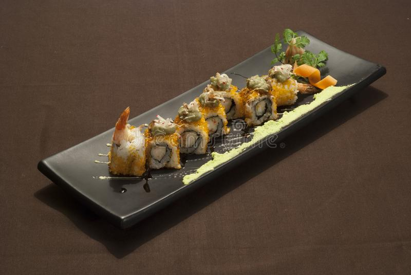 Delicious japanese fusion food with shrimp royalty free stock photo