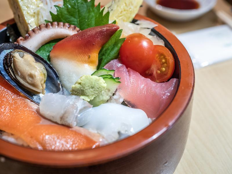 Delicious Japanese Sashimi Don stock images