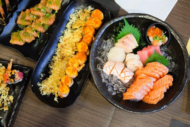 Delicious Japanese sashimi sushi set. Japanese food stock photo